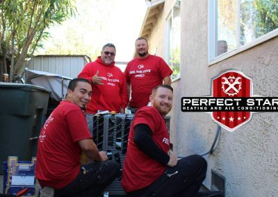 Lennox & Perfect Star Joined Forces to spread the love! Back left to right Frank Estrada (Lennox Territory Manager) and Lance Bakke (Install Manager). Front left to right: Installers David Mendoza & Michael Jaquith