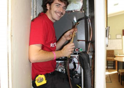 The Perfect Smile! Perfect Star Install Tech, Dade Clifton,brazing the copper lines with a big smile!